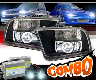 HID Xenon + Sonar® Halo Projector Headlights (Black) - 05-09 Ford Mustang