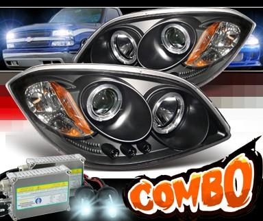 Hid Xenon Sonar Halo Projector Headlights Black 05 10 Chevy Cobalt Pro Yd Ccob05 Hl Bk
