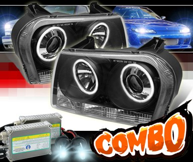 HID Xenon + Sonar® Halo Projector Headlights (Black) - 05-10 Chrysler 300