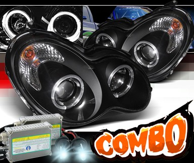 HID Xenon + Sonar® Halo Projector Headlights (Black) - 06-07 Mercedes-Benz C280 Sedan W203 without stock HID