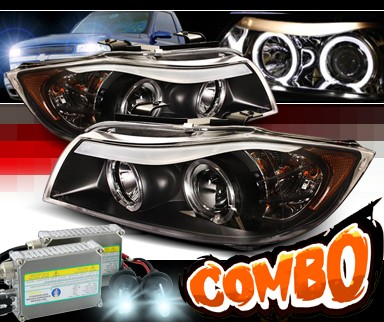 HID Xenon + Sonar® Halo Projector Headlights (Black) - 06-08 BMW 325i E91 4dr Wagon