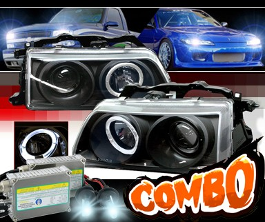 HID Xenon + Sonar® Halo Projector Headlights (Black) - 88-89 Honda CRX