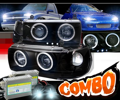 HID Xenon + Sonar® Halo Projector Headlights (Black) - 91-97 Toyota Land Cruiser