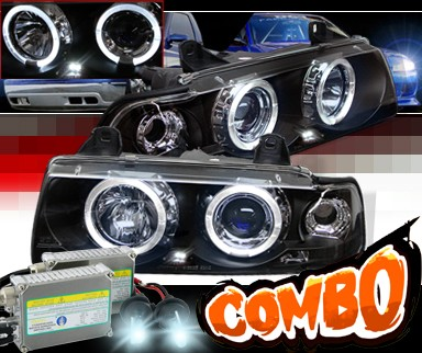 HID Xenon + Sonar® Halo Projector Headlights (Black) - 92-98 BMW 318is E36 2dr.