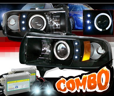 HID Xenon + Sonar® Halo Projector Headlights (Black) - 94-01 Dodge Ram 1500 Pickup
