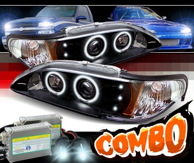 HID Xenon + Sonar® Halo Projector Headlights (Black) - 94-98 Ford Mustang