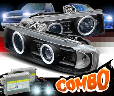 HID Xenon + Sonar® Halo Projector Headlights (Black) - 95-04 Chevy Astro Van