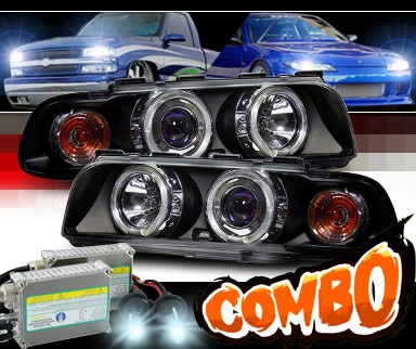 HID Xenon + Sonar® Halo Projector Headlights (Black) - 95-98 BMW 740il E38
