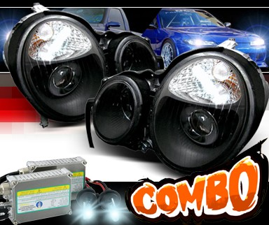 HID Xenon + Sonar® Halo Projector Headlights (Black) - 96-99 Mercedes-Benz E420 W210 without Stock HID