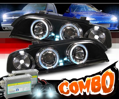 HID Xenon + Sonar® Halo Projector Headlights (Black) - 97-00 BMW 540i E39
