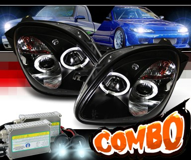 HID Xenon + Sonar® Halo Projector Headlights (Black) - 98-00 Mercedes-Benz SLK320 R170 with Bosch Converter Harnesses