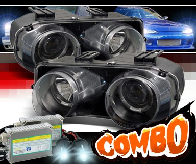 HID Xenon + Sonar® Halo Projector Headlights (Black) - 98-01 Acura Integra