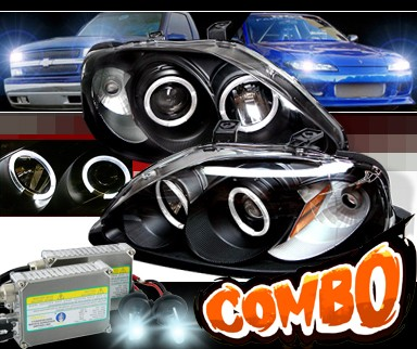 HID Xenon + Sonar® Halo Projector Headlights (Black) - 99-00 Honda Civic