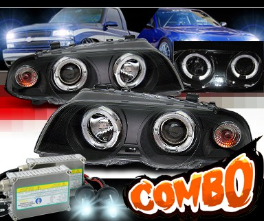HID Xenon + Sonar® Halo Projector Headlights (Black) - 99-01 BMW 325i E46 4dr.