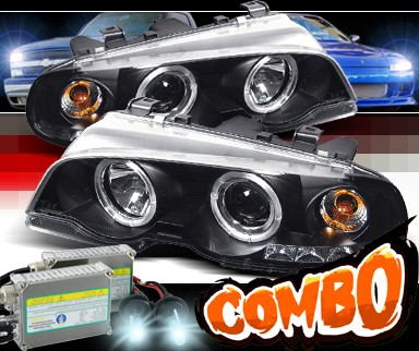 HID Xenon + Sonar® Halo Projector Headlights (Black) - 99-01 BMW 328Ci E46 2dr