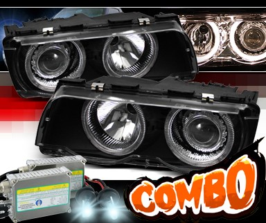 HID Xenon + Sonar® Halo Projector Headlights (Black) - 99-01 BMW 750iL E38
