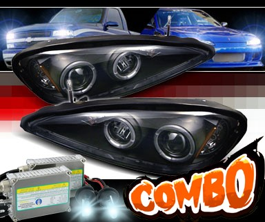 HID Xenon + Sonar® Halo Projector Headlights (Black) - 99-05 Pontiac Grand Am