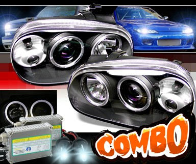 HID Xenon + Sonar® Halo Projector Headlights (Black) - 99-05 VW Volkswagen Golf IV