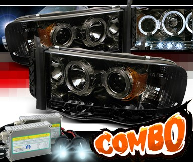 Hid Xenon Sonar Halo Projector Headlights Smoke 02 05 Dodge Ram 1500 Pickup Pro Yd Dr02 Hl Smc