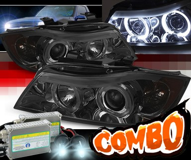 HID Xenon + Sonar® Halo Projector Headlights (Smoke) - 06-08 BMW 323i E90 4dr