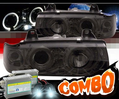 HID Xenon + Sonar® Halo Projector Headlights (Smoke) - 92-99 BMW 318i E36 4dr.