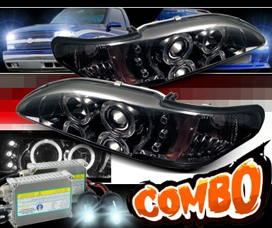 HID Xenon + Sonar® Halo Projector Headlights (Smoke) - 94-98 Ford Mustang