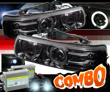 HID Xenon + Sonar® Halo Projector Headlights (Smoke) - 99-02 Chevy Silverado