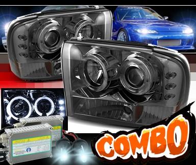 99 F350 Headlights >> Hid Xenon Sonar Halo Projector Headlights Smoke 99 04 Ford F 350 F350 Super Duty Gen 2 Style