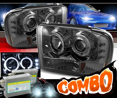 HID Xenon + Sonar® Halo Projector Headlights (Smoke) - 99-04 Ford F-450 F450 Super Duty (Gen. 2 Style)