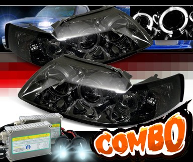 HID Xenon + Sonar® Halo Projector Headlights (Smoke) - 99-04 Ford Mustang
