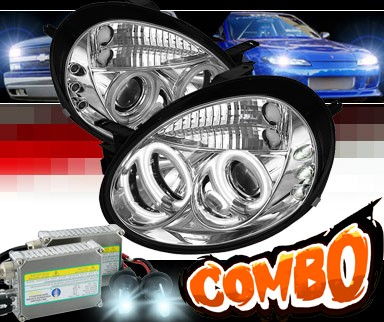 HID Xenon + Sonar® LED CCFL Halo Projector Headlights - 03-05 Dodge Neon