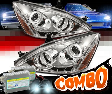 HID Xenon + Sonar® LED CCFL Halo Projector Headlights - 03-07 Honda Accord