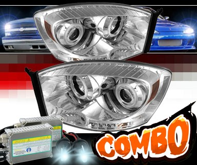 HID Xenon + Sonar® LED CCFL Halo Projector Headlights - 06-08 Dodge Ram Pickup