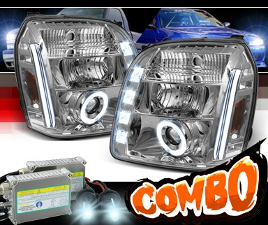 HID Xenon + Sonar® LED CCFL Halo Projector Headlights - 07-12 GMC Yukon (Incl. XL/Denali/Hybrid)