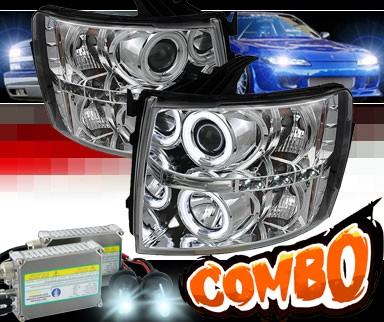 HID Xenon + Sonar® LED CCFL Halo Projector Headlights - 07-13 Chevy Silverado