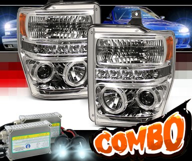 HID Xenon + Sonar® LED CCFL Halo Projector Headlights - 08-10 Ford F-350 F350