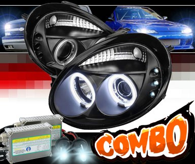 HID Xenon + Sonar® LED CCFL Halo Projector Headlights (Black) - 03-05 Dodge Neon