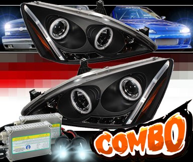 HID Xenon + Sonar® LED CCFL Halo Projector Headlights (Black) - 03-07 Honda Accord