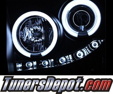 HID Xenon + Sonar® LED CCFL Halo Projector Headlights (Black) - 05-07 Ford F-450 F450
