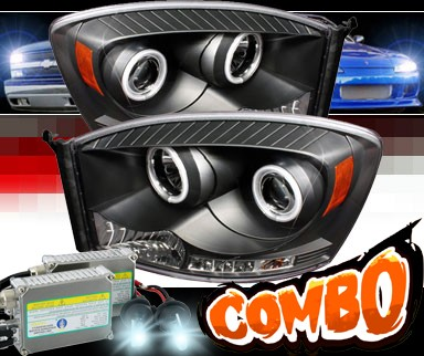 HID Xenon + Sonar® LED CCFL Halo Projector Headlights (Black) - 06-08 Dodge Ram Pickup
