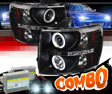 HID Xenon + Sonar® LED CCFL Halo Projector Headlights (Black) - 07-13 Chevy Silverado