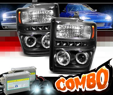 HID Xenon + Sonar® LED CCFL Halo Projector Headlights (Black) - 08-10 Ford F-350 F350