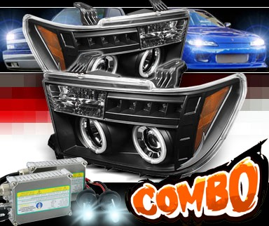HID Xenon + Sonar® LED CCFL Halo Projector Headlights (Black) - 08-13 Toyota Sequoia