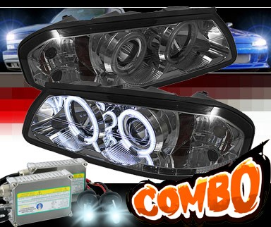 HID Xenon + Sonar® LED CCFL Halo Projector Headlights (Smoke) - 00-05 Chevy Impala