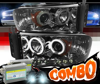 HID Xenon + Sonar® LED CCFL Halo Projector Headlights (Smoke) - 03-05 Dodge Ram Pickup