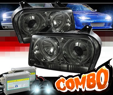 HID Xenon + Sonar® LED CCFL Halo Projector Headlights (Smoke) - 05-08 Chrysler 300