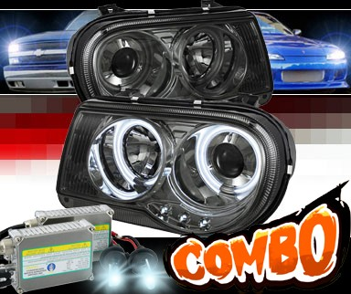 HID Xenon + Sonar® LED CCFL Halo Projector Headlights (Smoke) - 05-10 Chrysler 300C