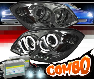 HID Xenon + Sonar® LED CCFL Halo Projector Headlights (Smoke) - 07-09 Pontiac G5