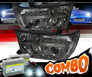 HID Xenon + Sonar® LED CCFL Halo Projector Headlights (Smoke) - 07-13 Toyota Tundra