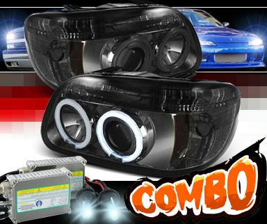 HID Xenon + Sonar® LED CCFL Halo Projector Headlights (Smoke) - 95-01 Ford Explorer